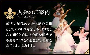 【入会のご案内】幅広い年代の方々へ舞台芸術としてのバレエを楽しみ、より親しんでいただくために多彩なクラスをご用意して、皆様をお待ちしております。